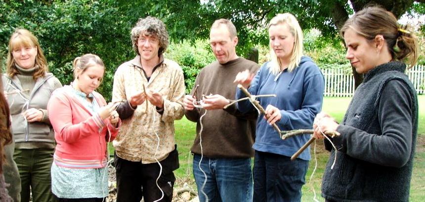 Chris teaching teachers and leaders to make cordage