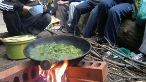 nettle noodle soup in the making