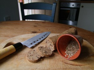 the biscuit sausage and bashed hogweed seeds (before sieving)