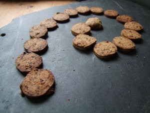 hogweed seed and date biscuits cooling on the slate